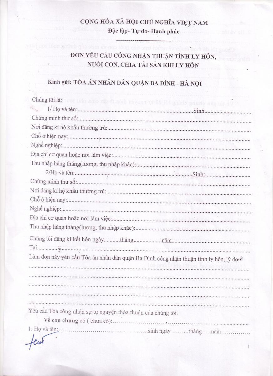 mẫu đơn xin ly hôn thuận tình tờ 1
