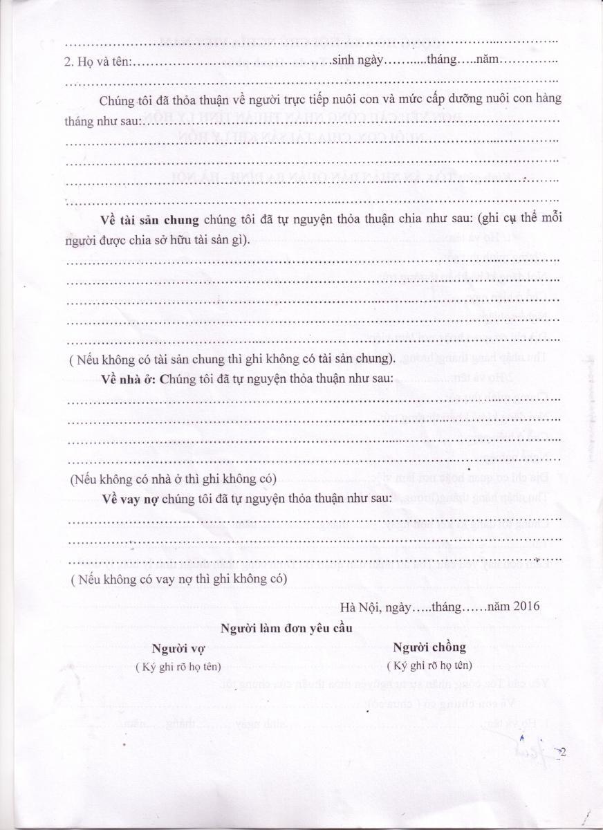 mẫu đơn xin ly hôn thuận tình tờ 2